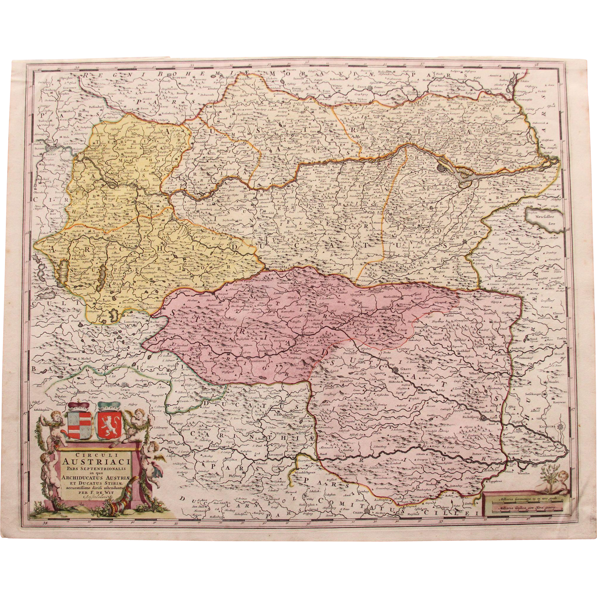 17th Century Antique Baroque Map of Northern Austria by Frederick de