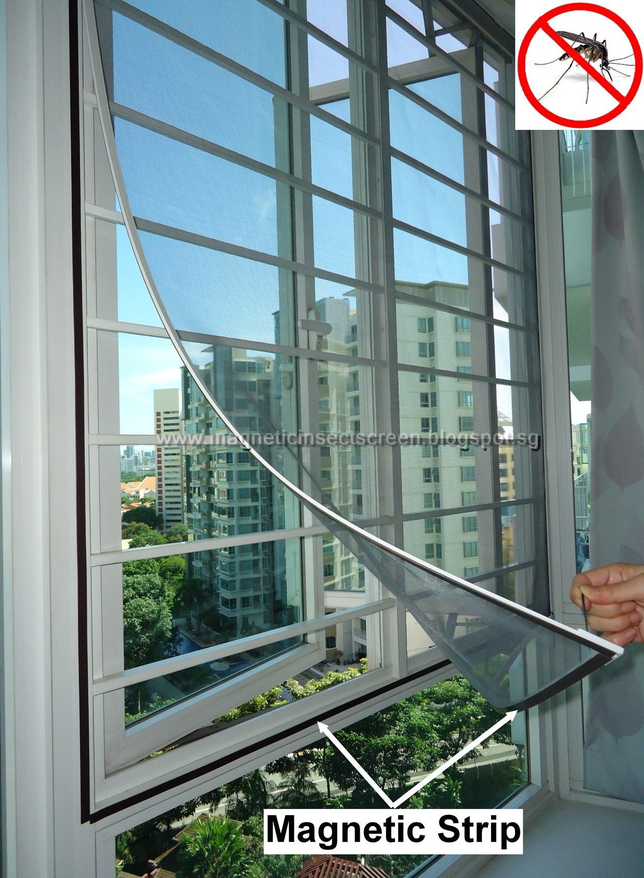 DIY Magnetic Mosquito Insect Screen Kit SG Seller Window Netting Net Mesh Fly Bug Lizard Cockroach Anti Dengue Singapore