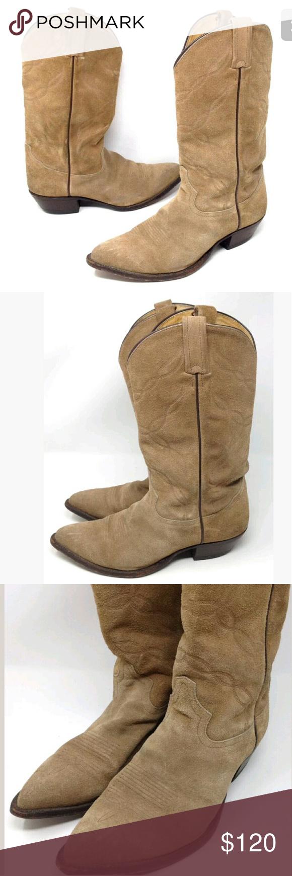 Tony Lama Cowboy Boots Rough Out 9.5 D