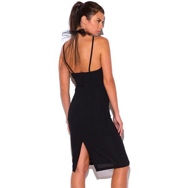 5d5f55d3583c Black crepe mesh choker bow tie cocktail party pencil club midi dress (365  CZK)
