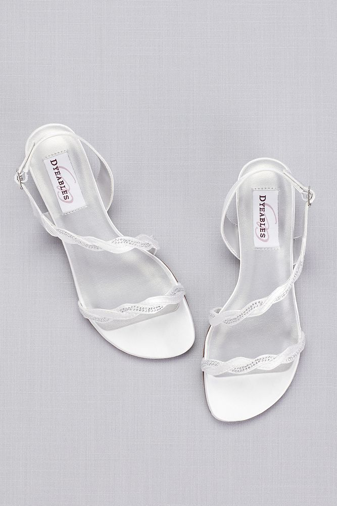 Dyeable Satin Sandals With Braided Crystal Straps Bride Sandals