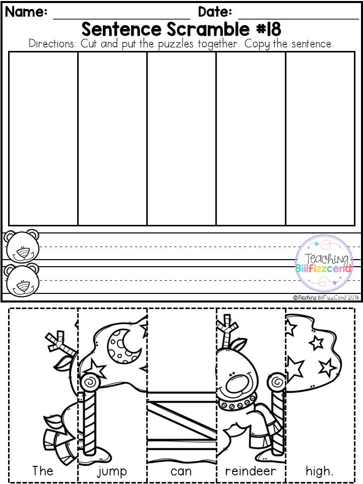 free kindergarten sentence building winter edition kindergarten literacy kindergarten. Black Bedroom Furniture Sets. Home Design Ideas
