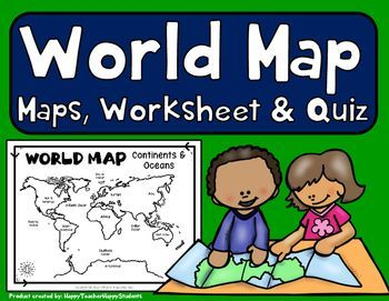 World map world map quiz test and map worksheet 7 continents easy to read world map with corresponding map quiz and practice sheets students gumiabroncs Gallery