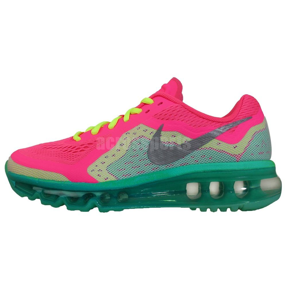 new concept db628 8960a Nike Air Max 2014 GS Pink Silve Green 2014 Girls Youth Womens Running Shoes  360 http