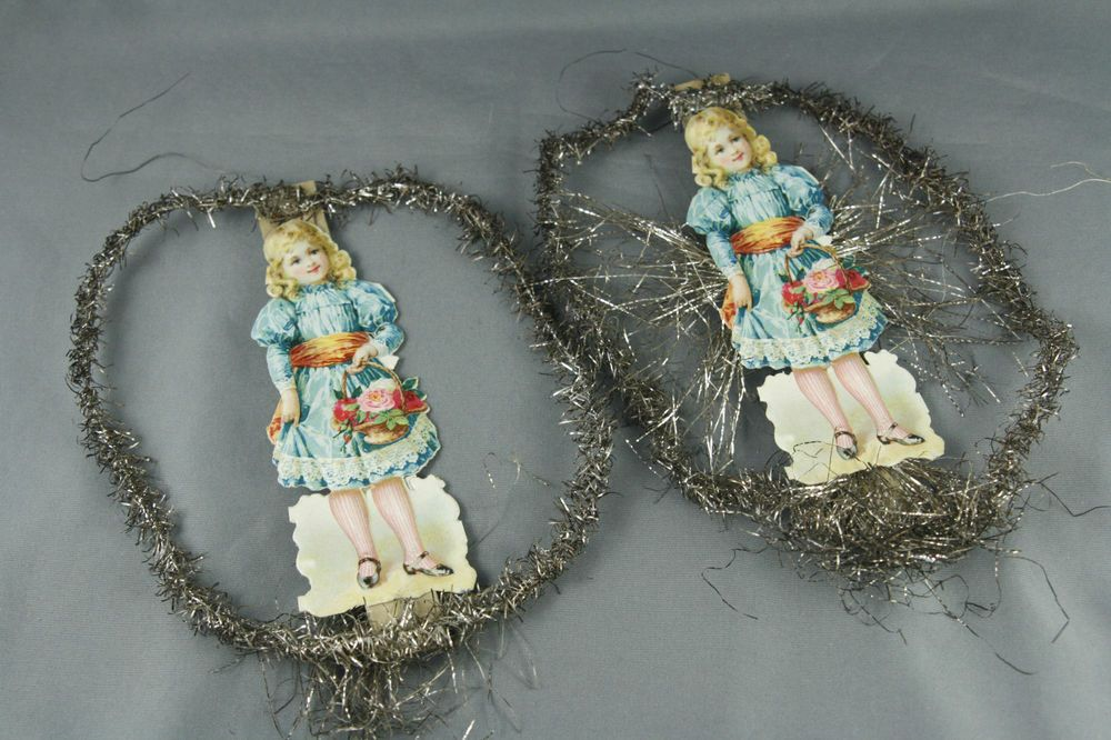 Vintage Victorian Christmas Decorations DieCut Tinsel Handmade Girl Flowers SOLD