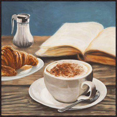 "East Urban Home 'Cappuccino and Book' Oil Painting Print Format: White Cube Framed, Matte Color: No Matte, Size: 38"" H x 38"" W"