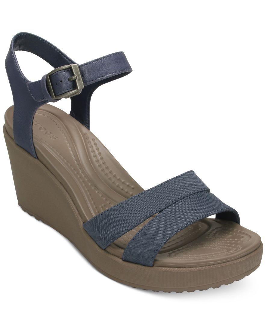 fda297db8 Crocs Women s Leigh Ii Ankle Strap Wedge Sandals