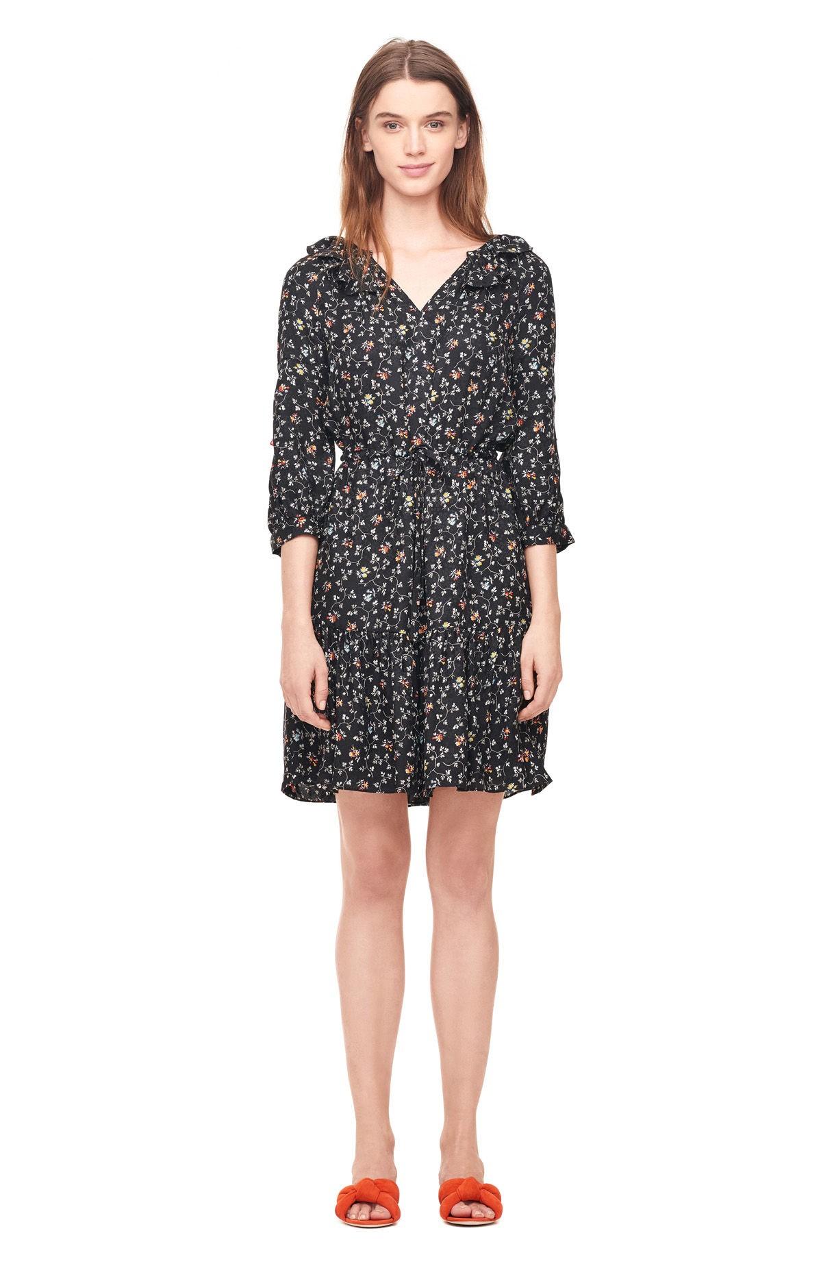199de6d716b9 Rebecca Taylor Vine Print Silk Shirtdress - Black 12