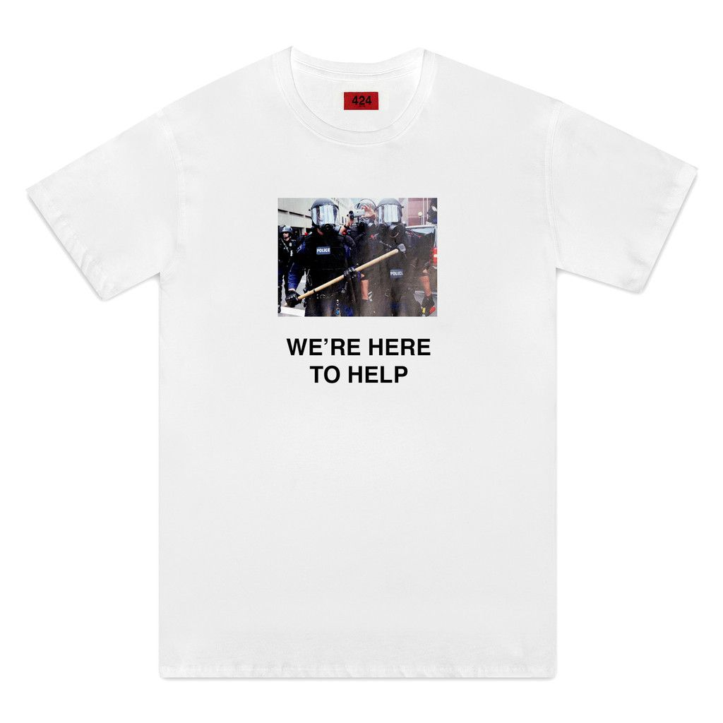 4e6c1f930a5 FourTwoFour We're Here To Help Tee - White | On Streetwear | Shirts ...
