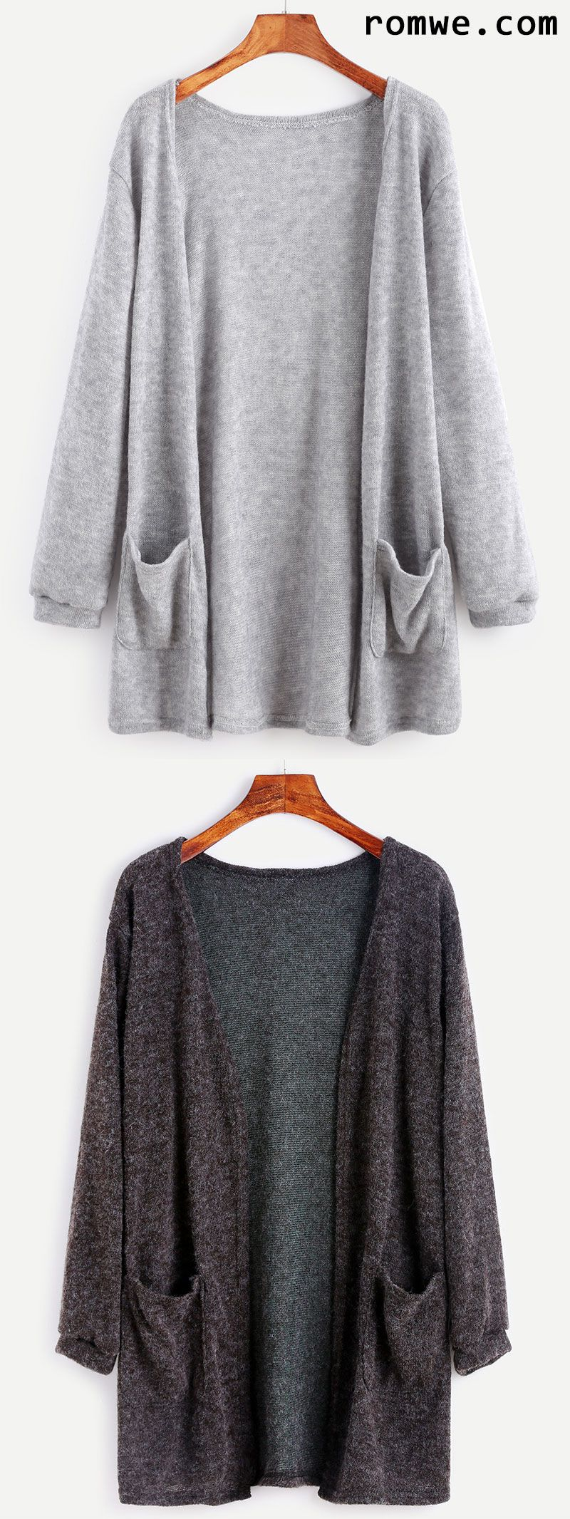 Elastic Cuff Cardigan With Pockets | Romwe Hot Buy | Pinterest ...