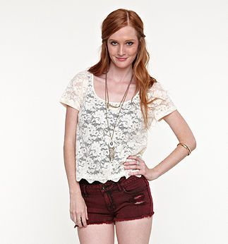 Kirra All Over Lace Button Back Top - PacSun.com