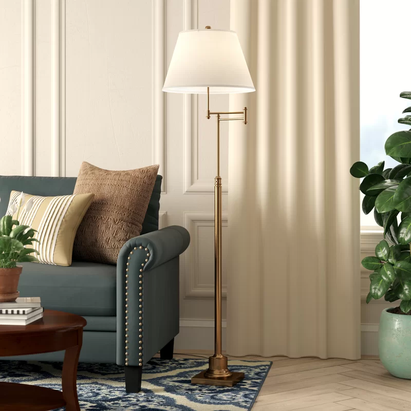 Emmeline 60 Swing Arm Floor Lamp Swing Arm Floor Lamp Metal Floor Lamps Traditional Floor Lamps