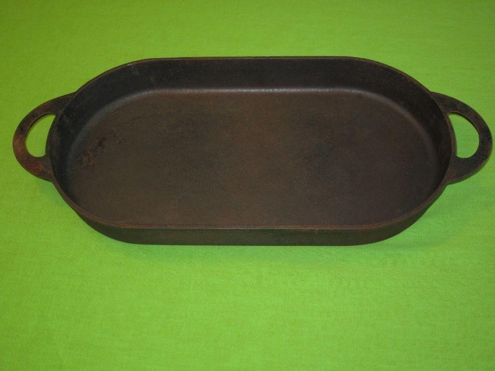 large vtg cast iron pan oval fish fryer griddle skillet. Black Bedroom Furniture Sets. Home Design Ideas