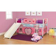Girls Apos Fairytale Twin Loft Bed With Slide White Beds For Kj