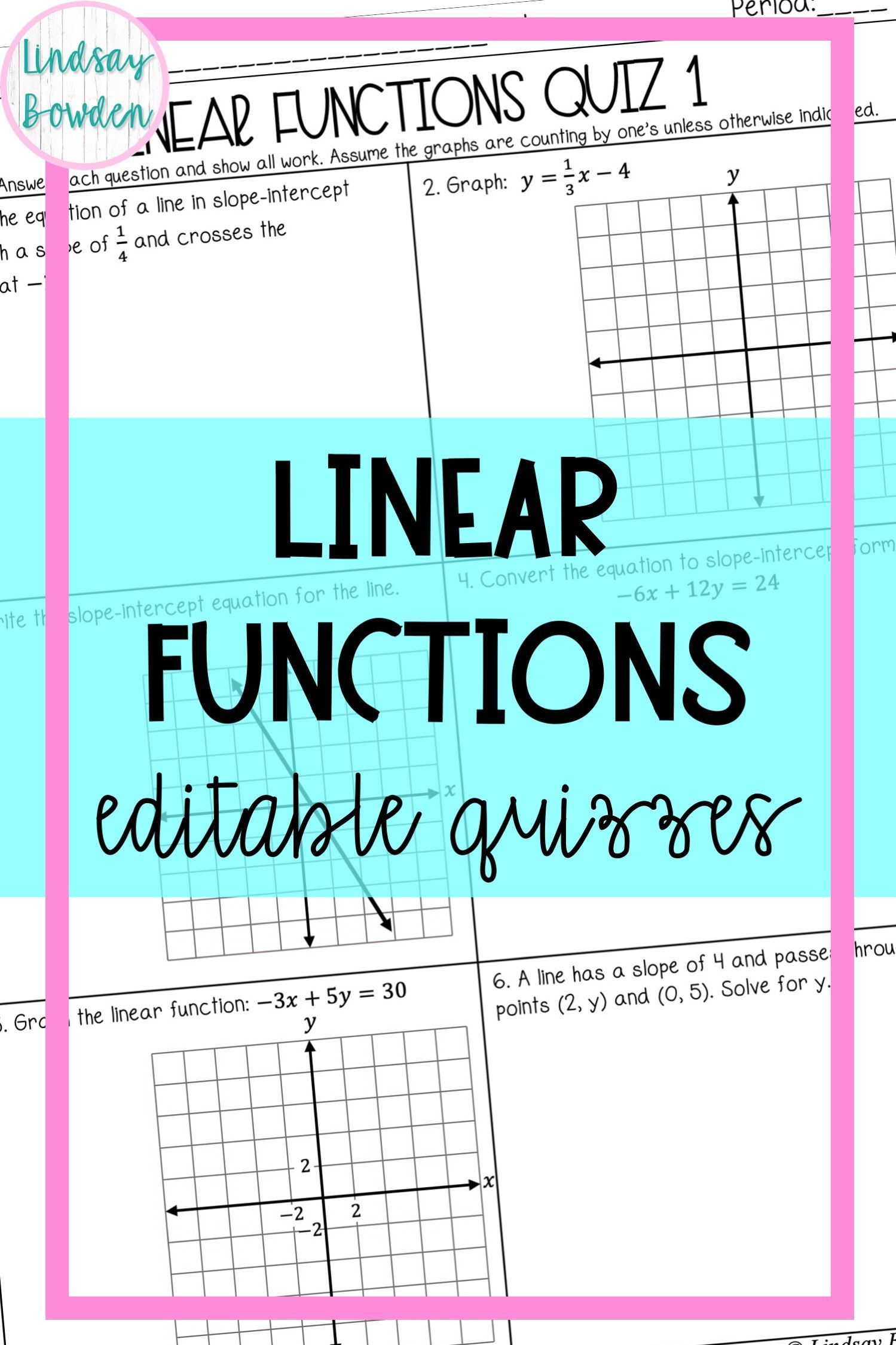 Linear Function Quizzes In