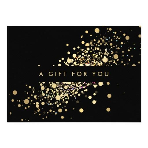 Faux Gold Confetti On Black Gift Certificate