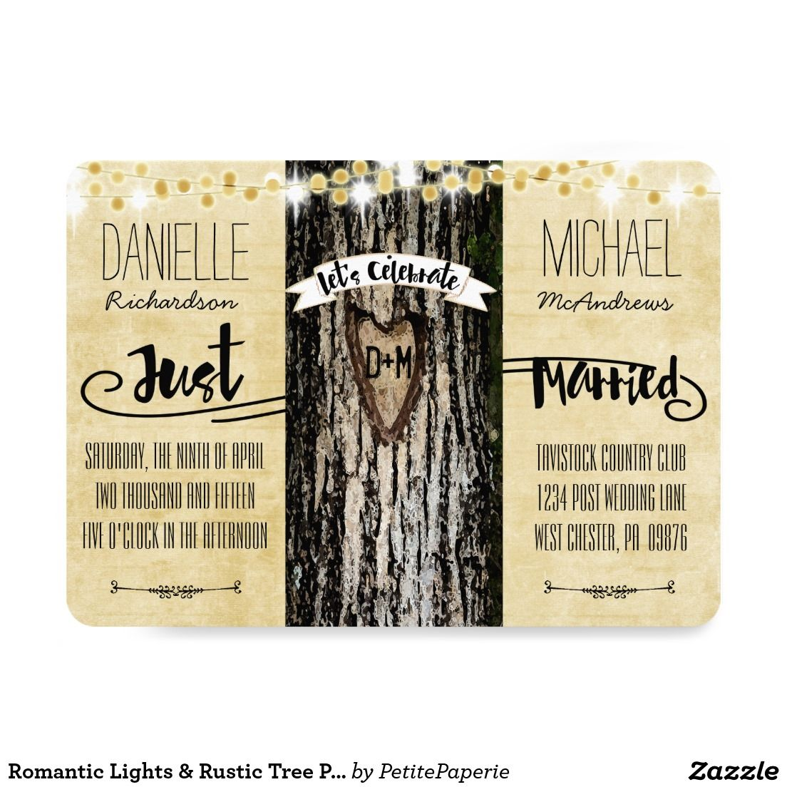 Rustic country burlap string lights lace wedding card - Romantic Lights Rustic Tree Post Wedding Invite