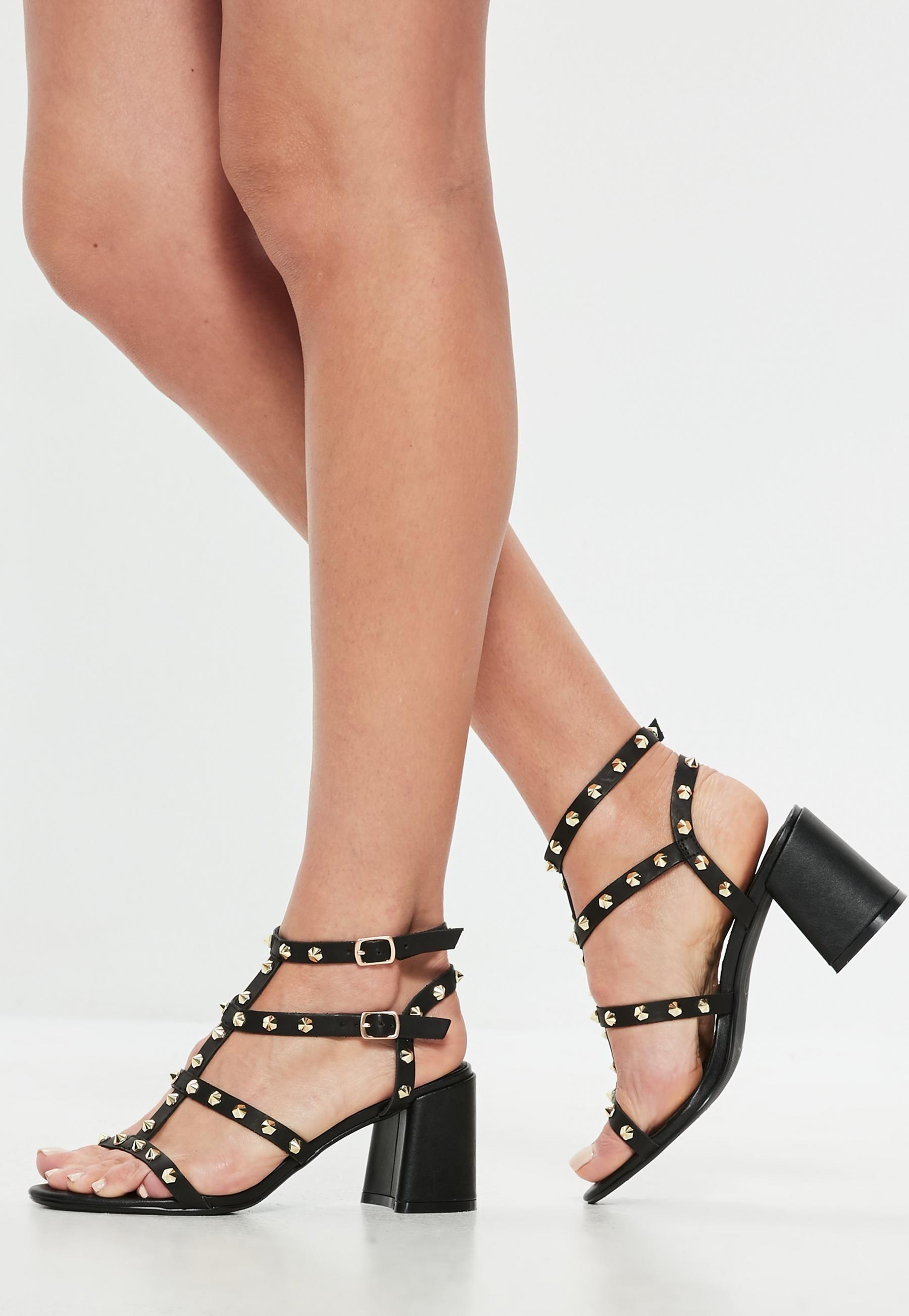 69cd39139ec Black Studded Flared Heel Gladiator Sandals