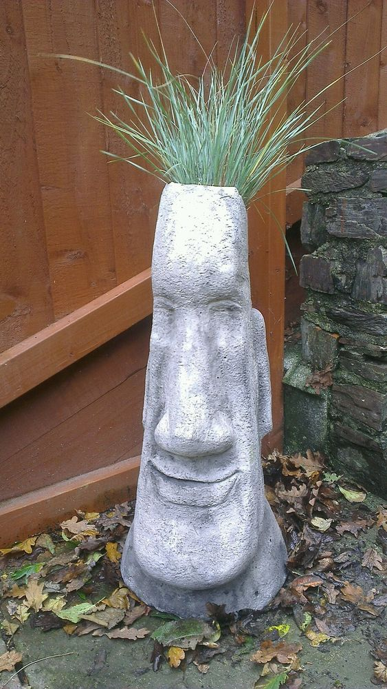 Large Easter Island Head Tiki Statue Garden Plant Pot Stone Concrete  Ornament