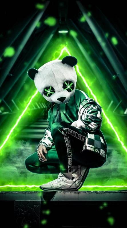Panda Neon Green Cool wallpapers for phones, Panda