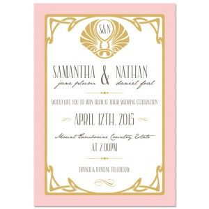 FROM ONLY 125 each Art Deco Border Wedding Invitations from www