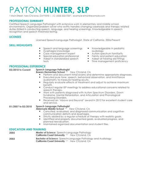 best speech language pathologist resume example