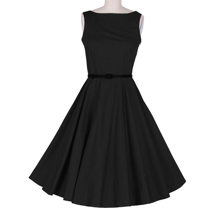 Wholesale Vintage Scoop Neck Sleeveless Women S Black Pleated Dress Black L Vintage Dresses Ros Black Pleated Dress Vintage Dresses Online Vintage Dresses