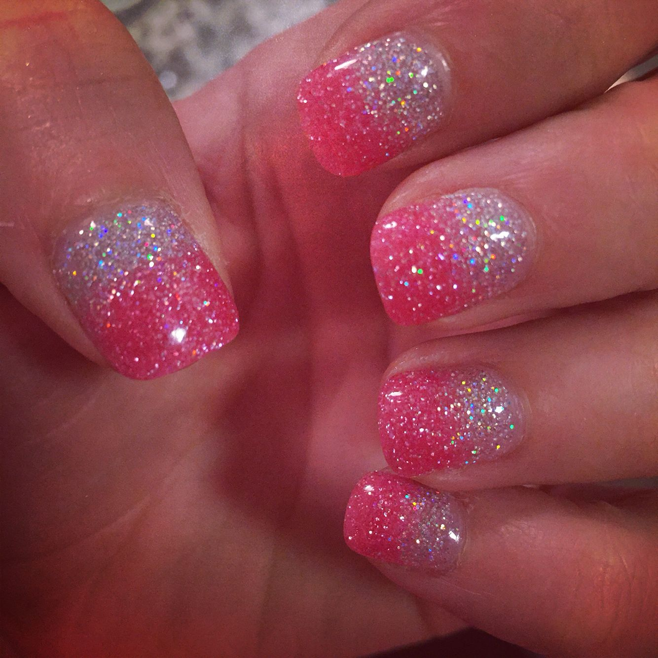 Nexgen ombré nails- pink and silver sparkles!! Love it! | Nails ...