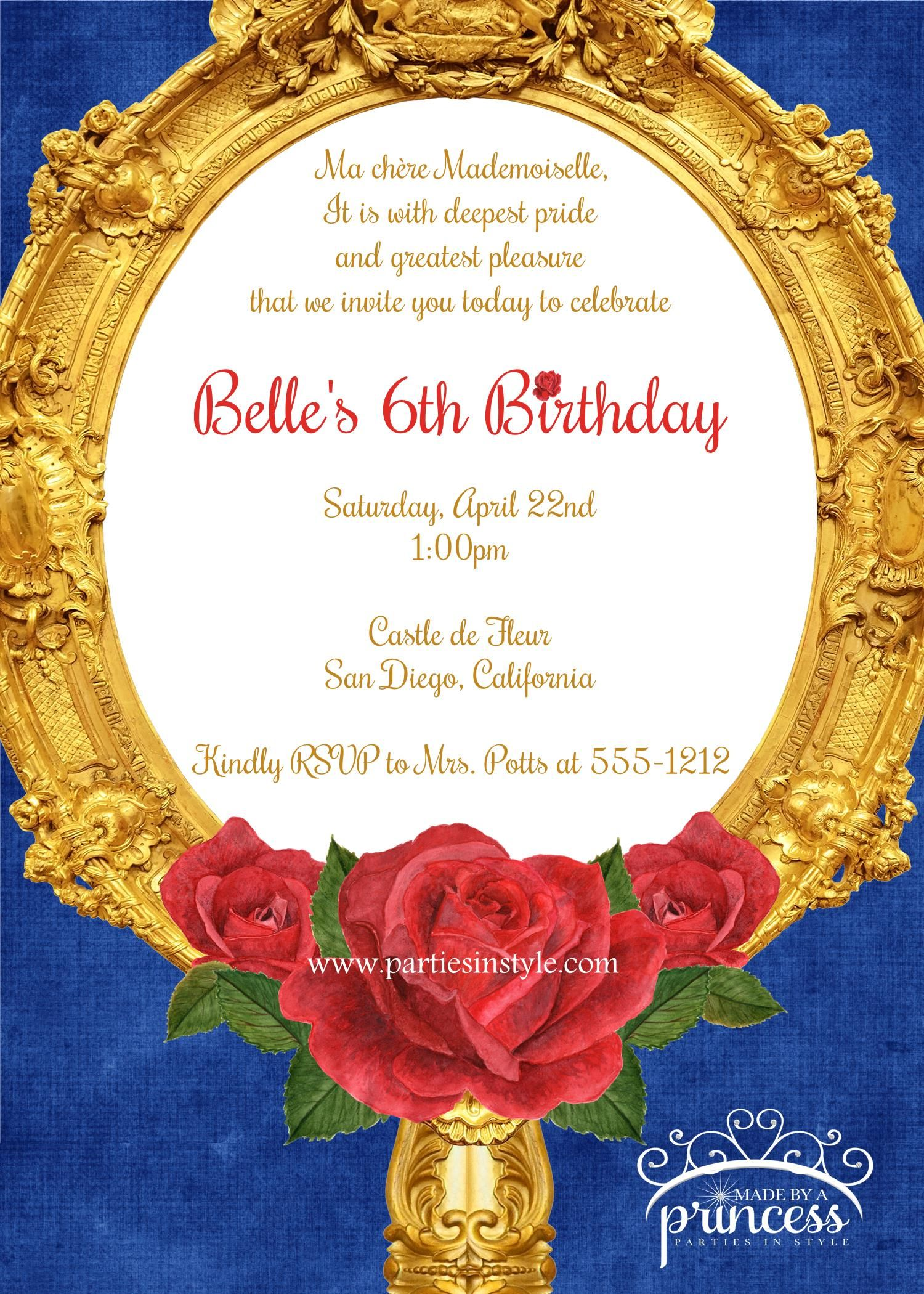 Beauty And The Beast Inspired Birthday Party Printable
