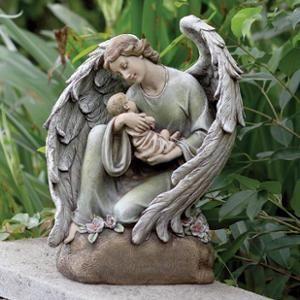 16 Serene Memorial Angel With Baby Outdoor Patio Garden Statue