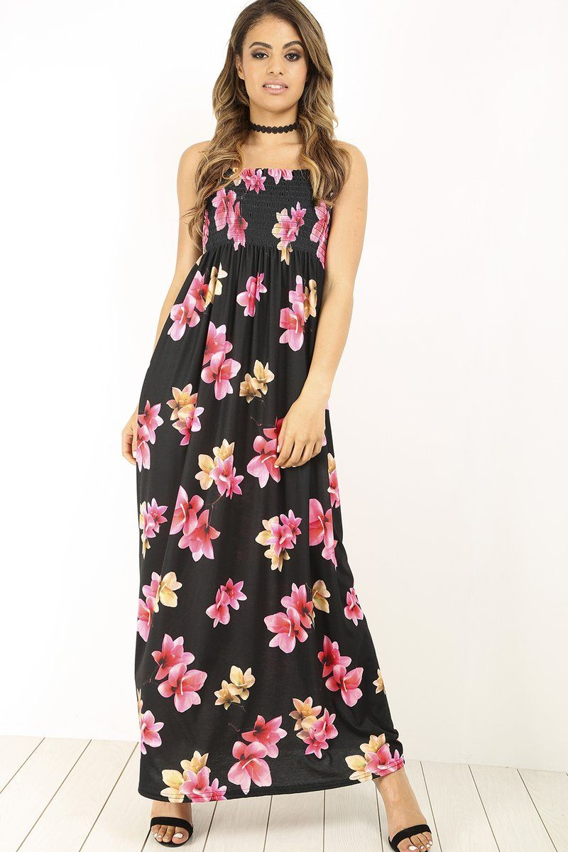 c7b0225b6c5 LOLA SHEERING FLORAL MAXI DRESS £30.0 Dress Floral Prints Neckline Boobtube  Sleeveless Ruched Length: