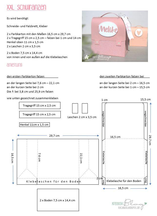 Kreativ Blog By Claudi Schulranzen Xxl Einladung Einschulung Fasching Im Kindergarten Schulranzen