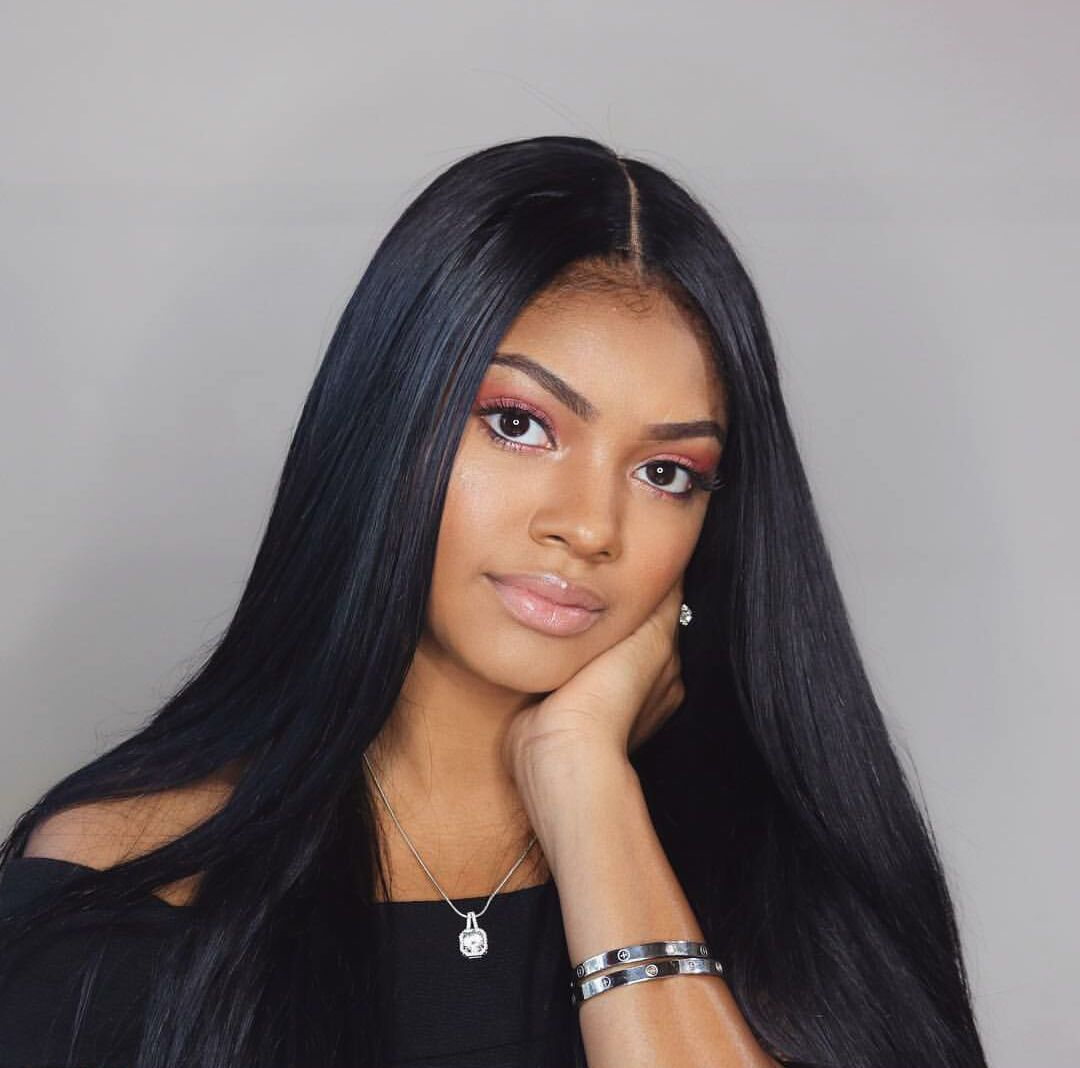 Virgin Brazilian Straight Hair 3 Bundles 20 20 20 With 20inch Middle Part Lace Closure 100 Straight Hairstyles Weave Hairstyles Virgin Brazilian Straight Hair