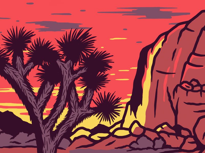 Work in progress on a Joshua Tree National Park patch. I need to simplify a few details, but I think it's about where it needs to be.
