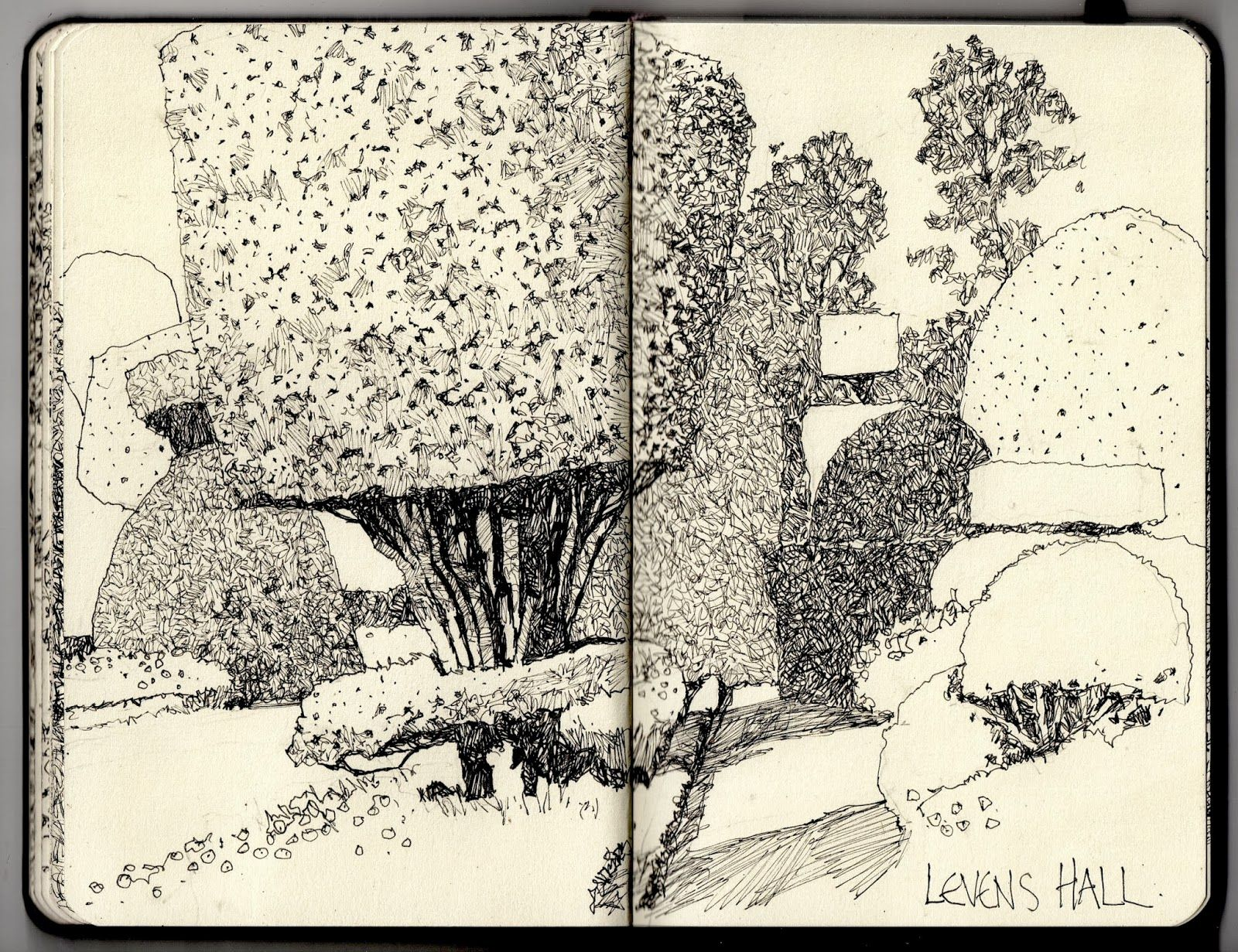 Fine Line Art : Ian sidaway fine line: levens hall topiary lines and scetches