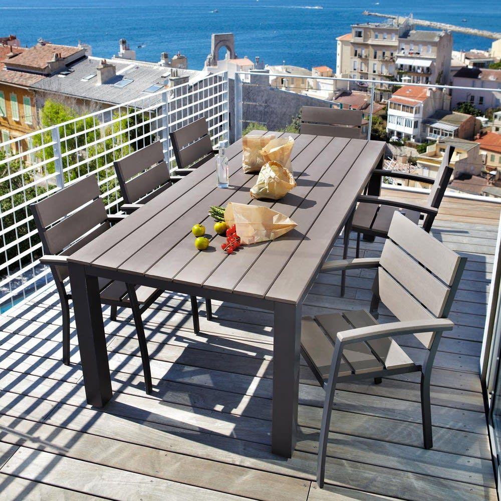 Table de jardin 8/10 personnes en aluminium gris anthracite ...