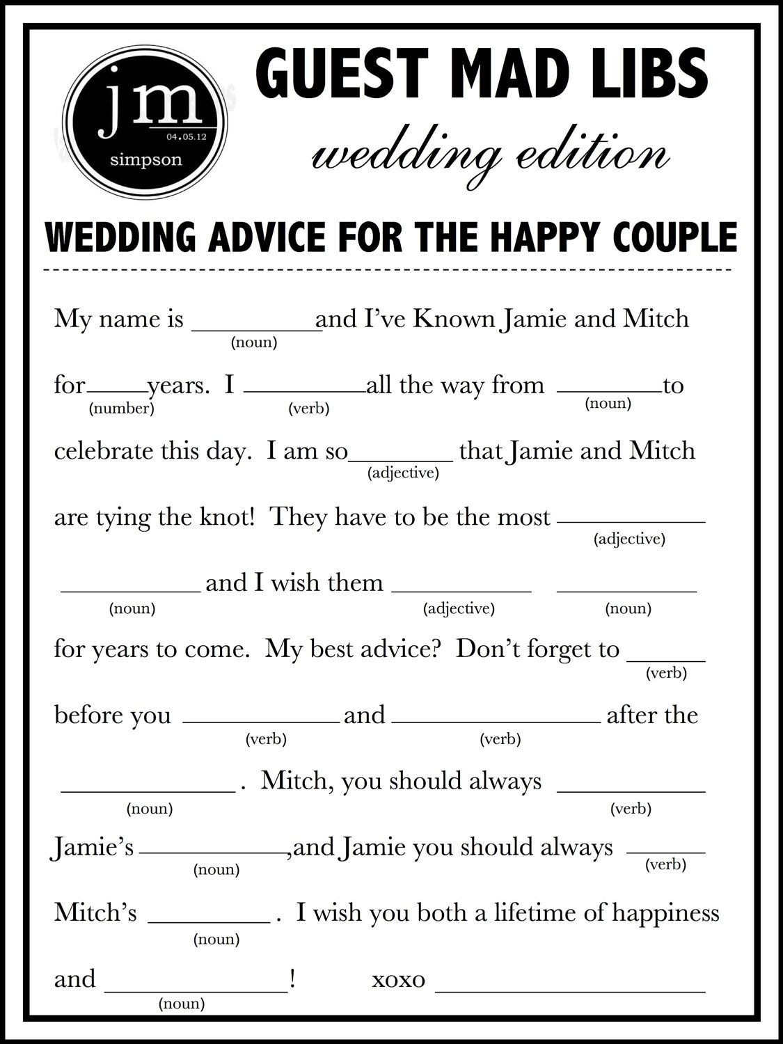 Printable Wedding Mad Lib A Fun Guest Book By