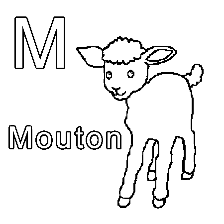 Dessin m comme mouton a colorier enfants pinterest - Dessin tete de mouton ...