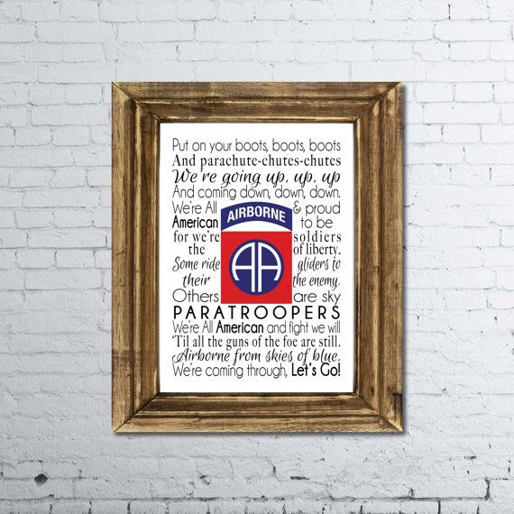 82nd Airborne song print | Military | Songs, Home decor