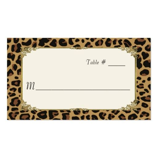 Jaguar Animal Print Wedding Place Card