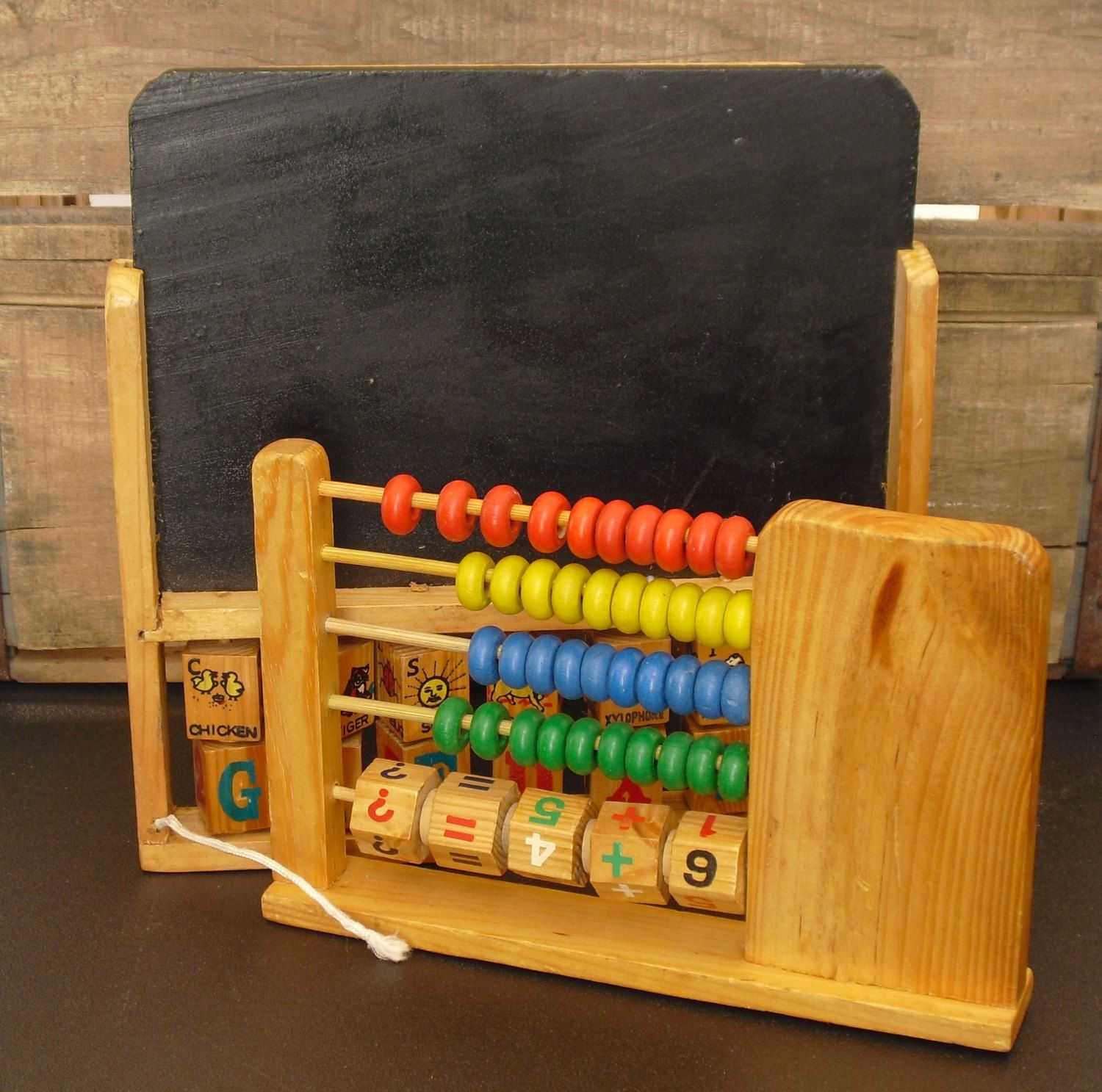 Vintage Wooden Learning Toy Chalkboard Alphabet Clock Numbers
