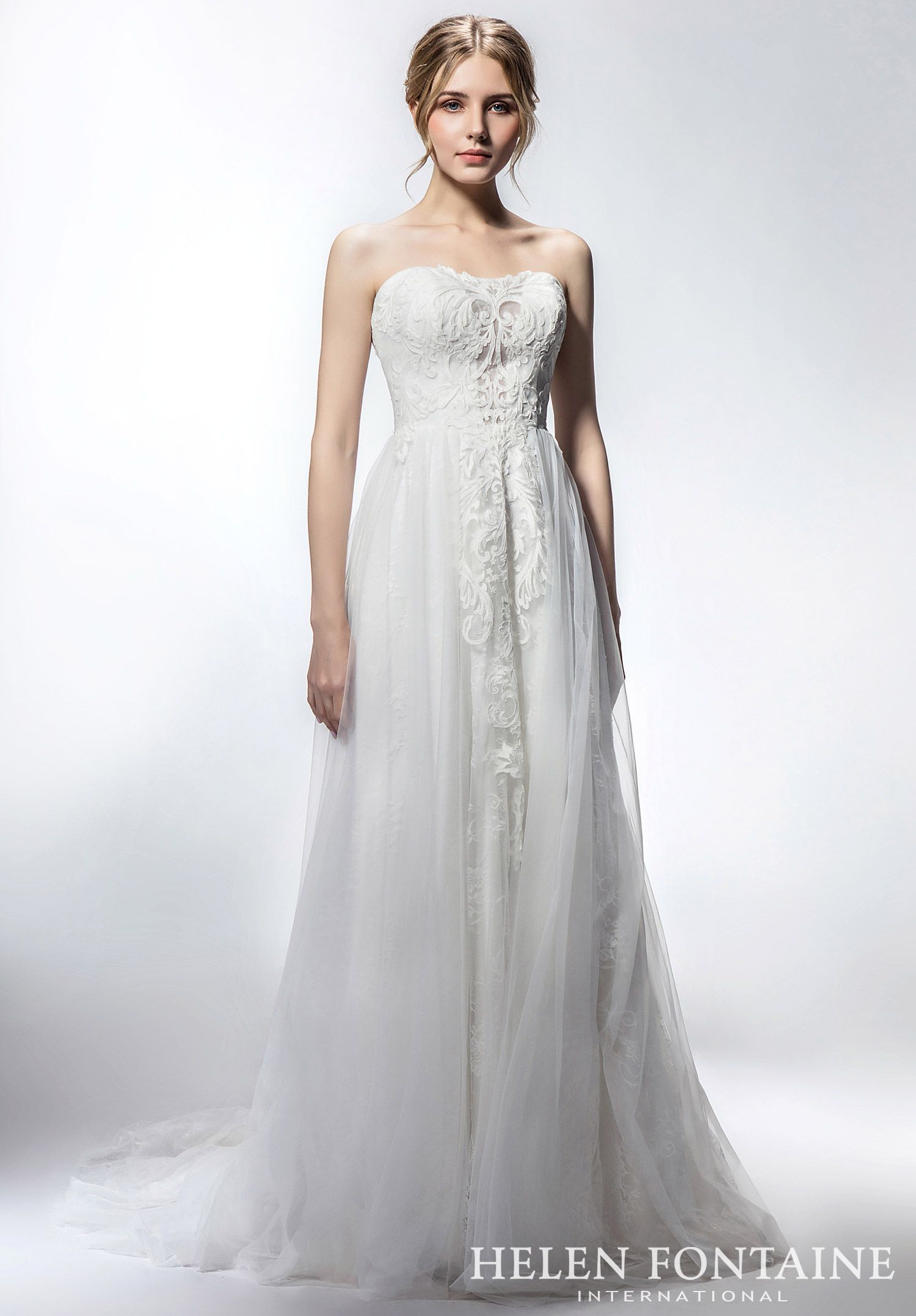 Slimming A Line Tulle Wedding Dress With Vintage Lace Style Hfw2736