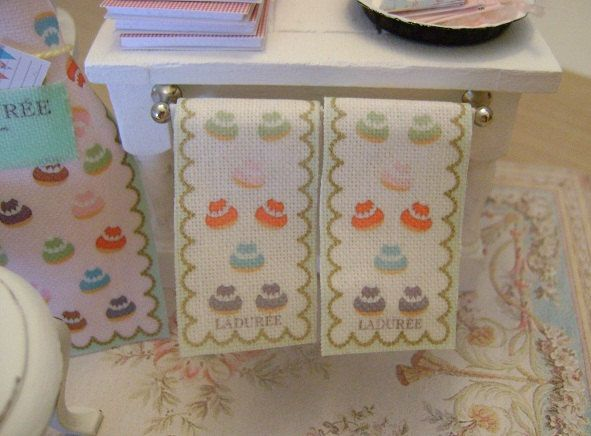Set of 2 Petit Chou LADUREE TEA TOWELS  -  Dollhouse Miniature Kitchen 1/12 Scale. $15.00, via Etsy.