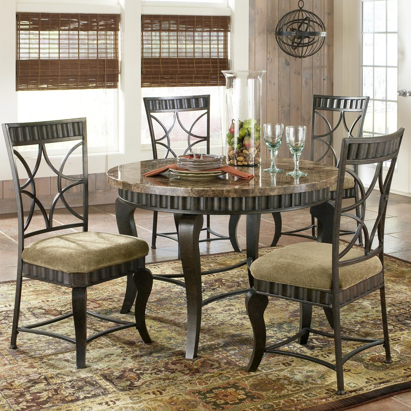 Hamlyn 5 Piece Faux Marble Top Dining Table Set By Steve Silver Round Dining Room Sets Marble Top Dining Table Metal Dining Table