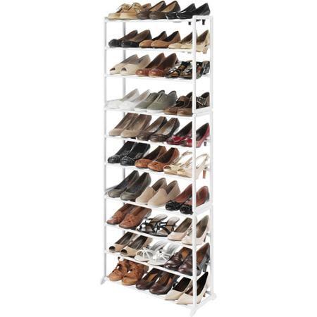 Whitmor Shoe Tower Rack Walmart Com Whitmor White Floors Closet Organizing Systems