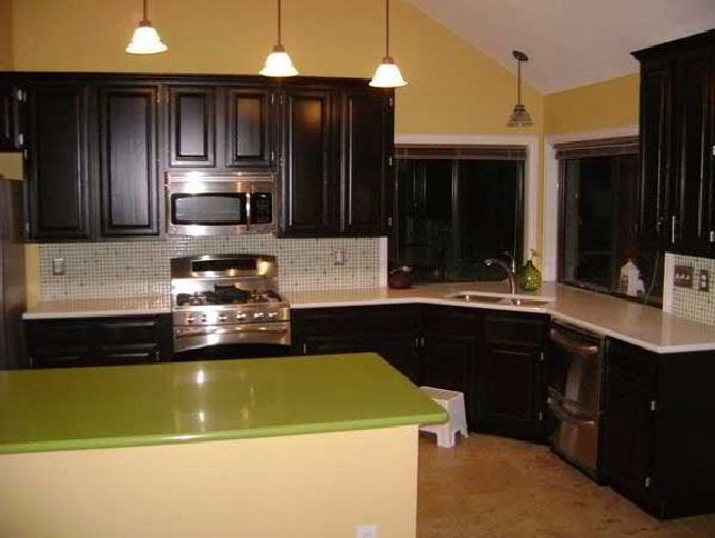 green counter Jeff Lewis Designs Kitchen Cabinet Painting ...