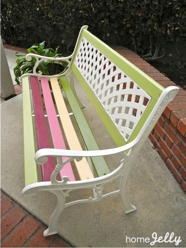 Amazing Painted Benches Outdoor Part - 10: Sprucing Up Old Benches (Diy Garden Bench)