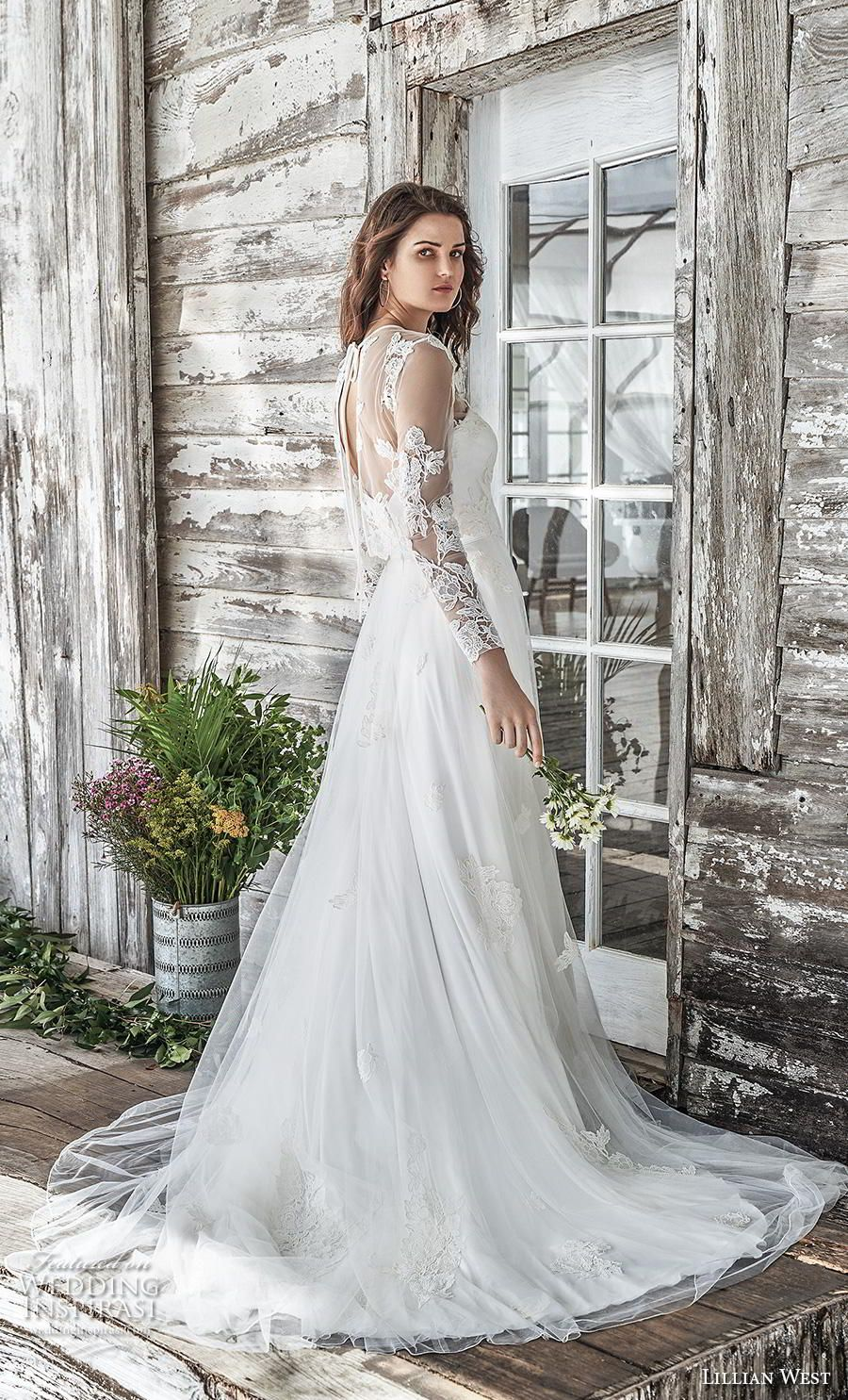 27a4274869 lillian west spring 2019 bridal long seeves illusion jewel sweetheart  neckline heavily embellished bodice romantic a