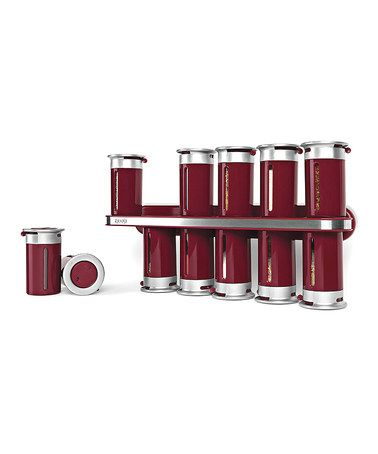 Loving this Red & Silver Magnetic Spice Rack Set on #zulily! #zulilyfinds
