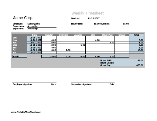 Weekly Timesheet Horizontal Orientation Work Hours Entered
